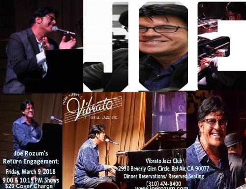 March 9th, 2018: Joe Rozum's Return Engagement at Vibrato Jazz Club